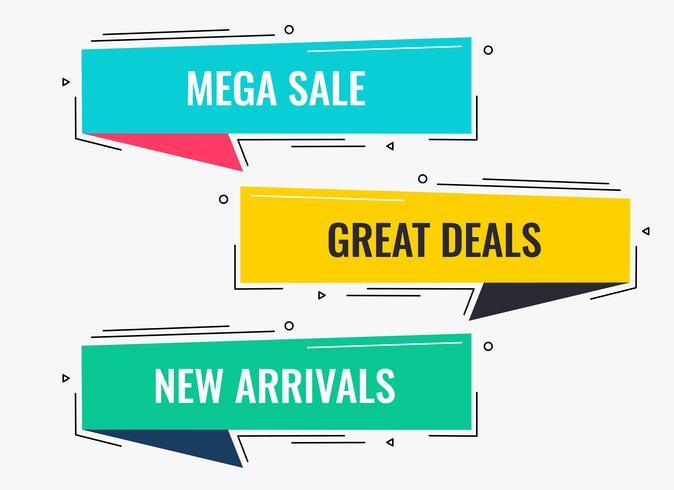 vendita piatta stile memphis e banner design di sconto
