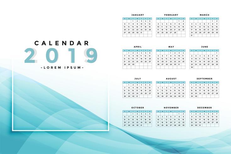 stilig blå 2019 kalenderdesign
