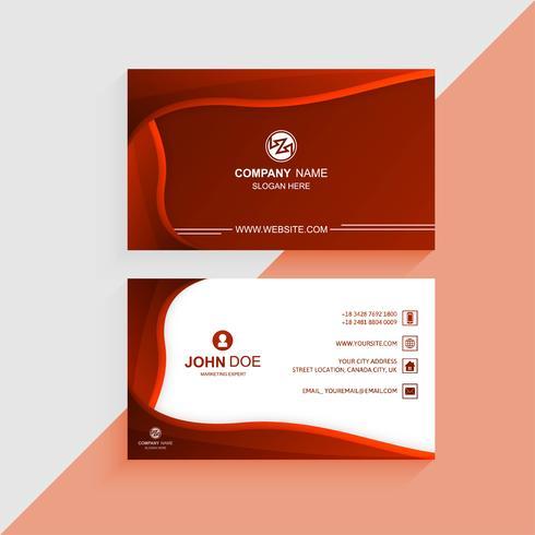 Vacker färgrik visitkortmall med röd våg