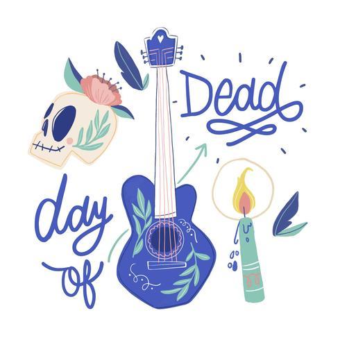 Linda guitarra mexicana, calavera de azúcar, vela y letras