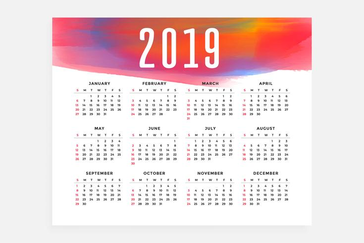 Conception du concept de disposition du calendrier 2019