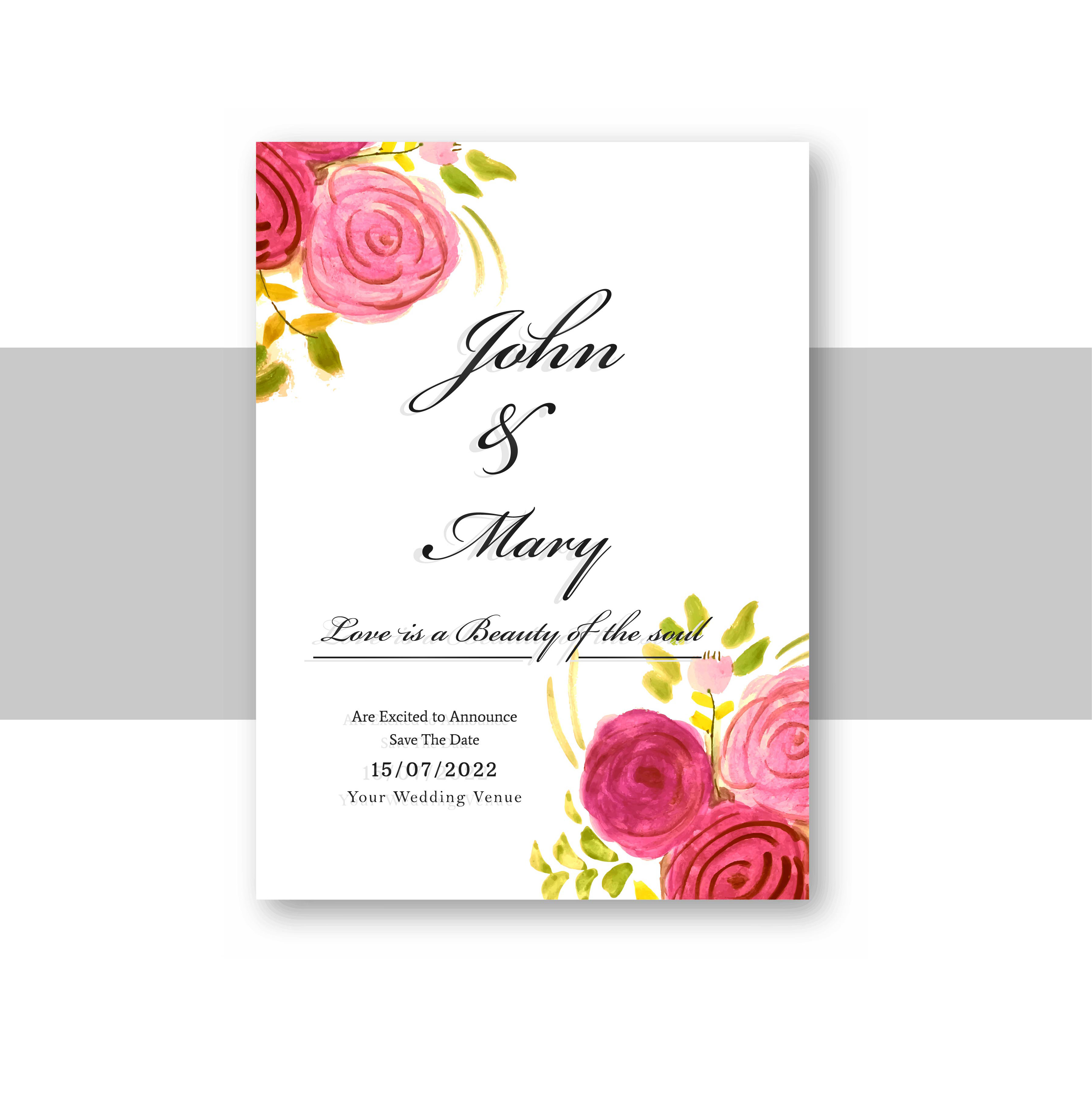 Invitation Card Template Video: Wedding Invitation Card Template With Decorative Floral