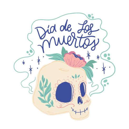 Cute Sugar Skull Smiling With Lettering vector