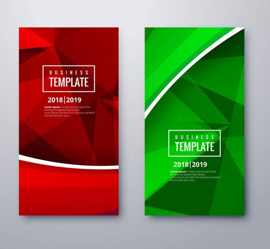 Elegant colorful banners set polygon brochure template design