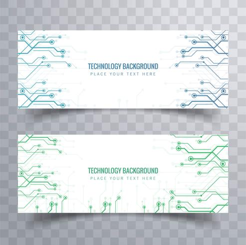 Elegant technology banners set design