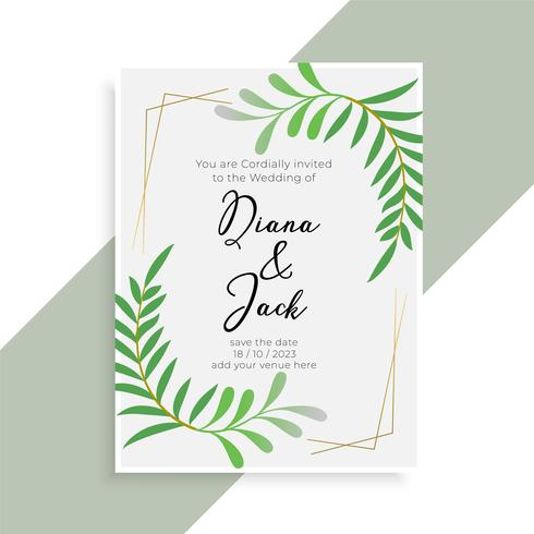 conception élégante de carte d'invitation de mariage