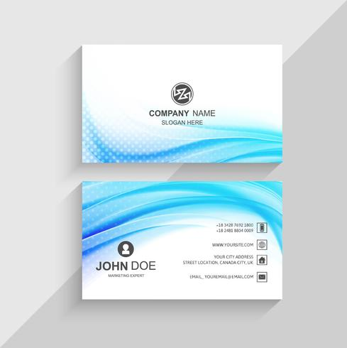 Abstract wave blue business card template vector