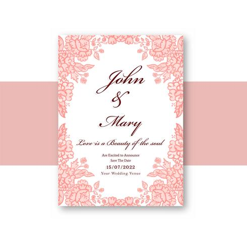 Wedding Invitation card template floral design vector