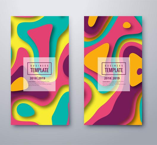 Elegant ontwerp van de het banner vastgestelde sjabloon van Papercut kleurrijk vector