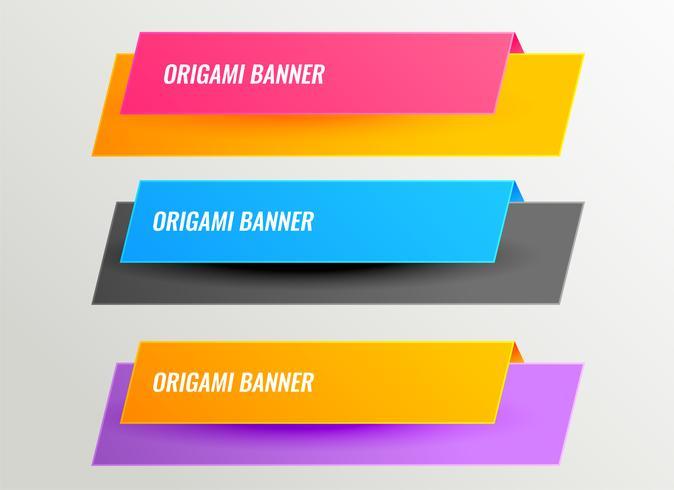 insieme di progettazione di banner origami brillante