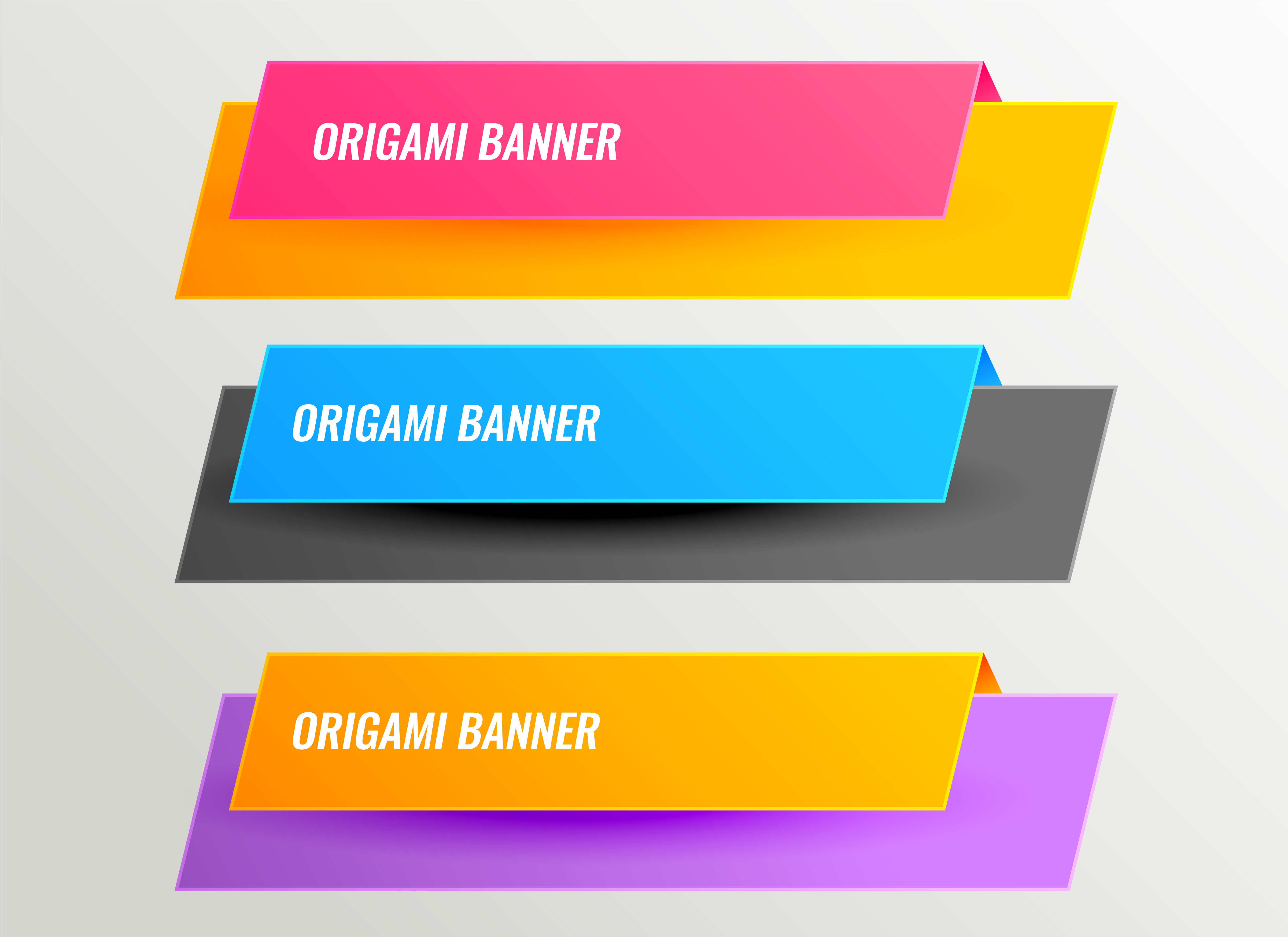 bright origami banners design set - Download Free Vector ...