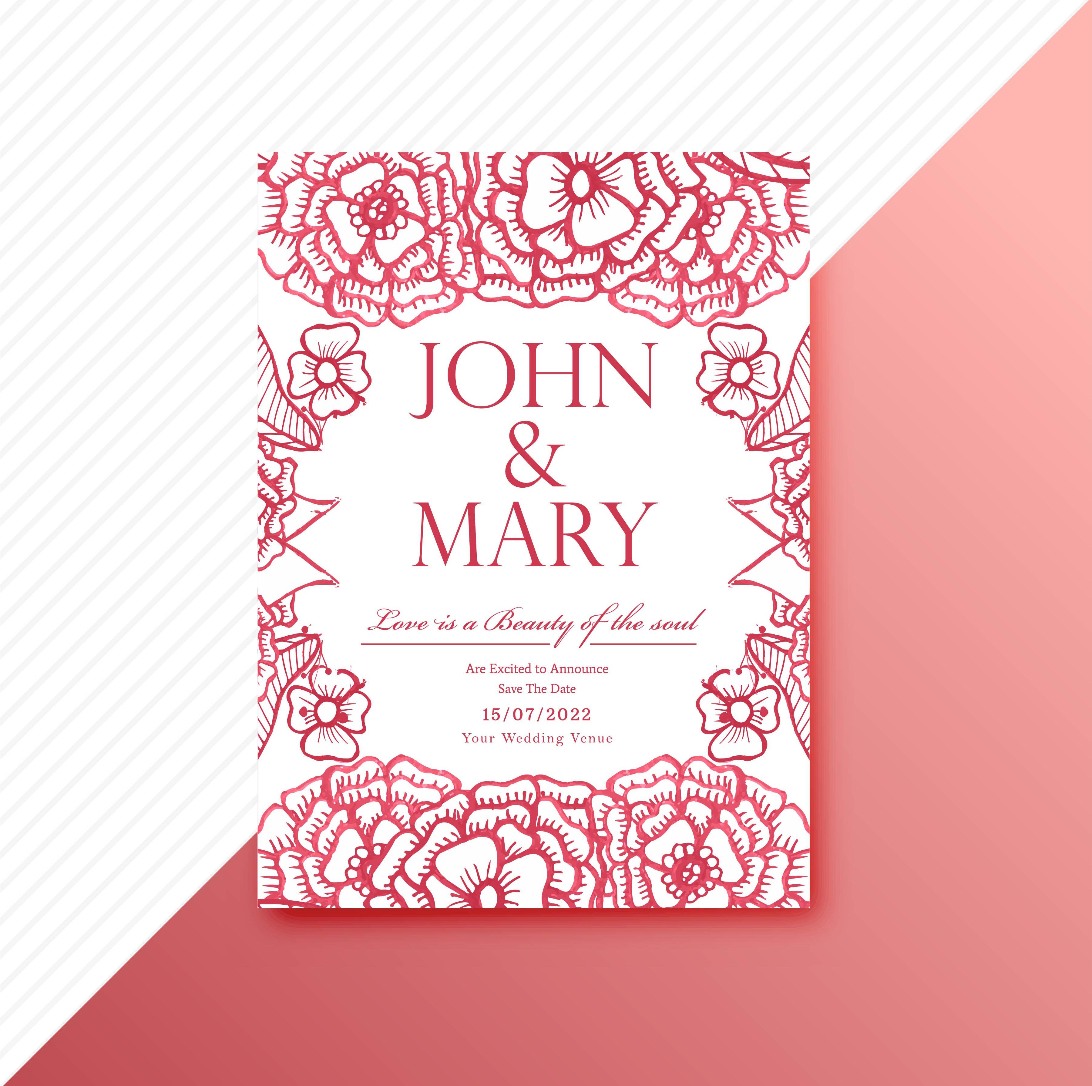 wedding invitation card decorative floral template design