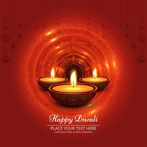 Diwali festival de diseño con tres velas.