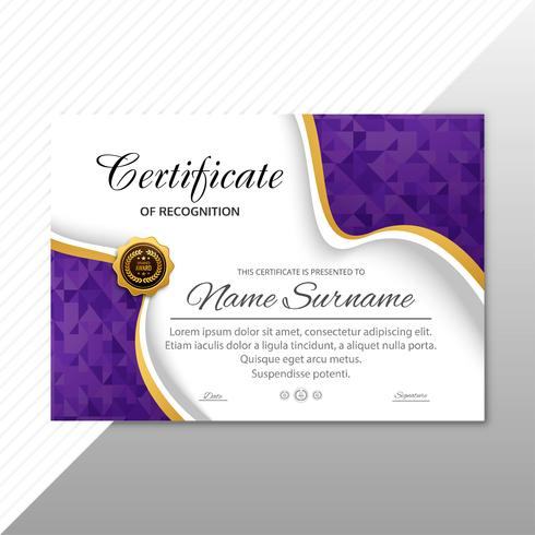 Vackert diplom certifikat mall bakgrund vektor