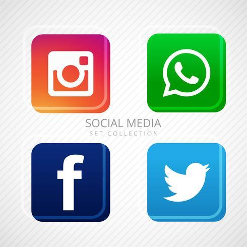 Abstrakt sociala medier ikoner uppsättning design
