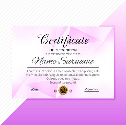 Beautiful stylish certificate template with polygon design vector