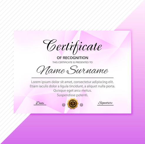 Vacker elegant certifikatmall med polygondesign