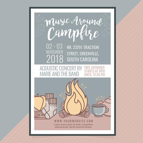 Vector Music Around Campfire Poster