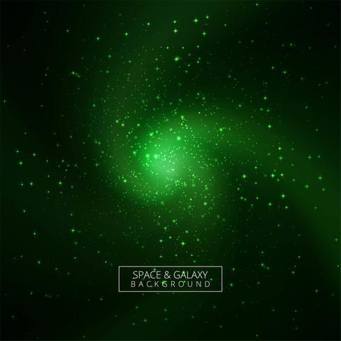 Beautiful green galaxy background vector
