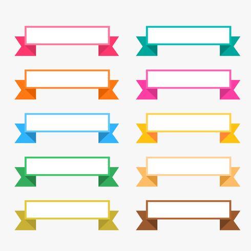 rubans plats colorés sertis d'espace de texte