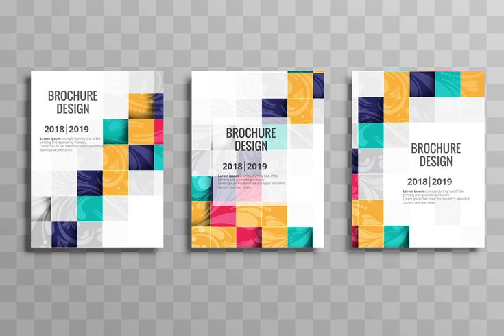 Abstract colorful mosaic business brochure template set vector
