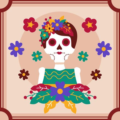 Frame Skull Women Day of the Dead Vector