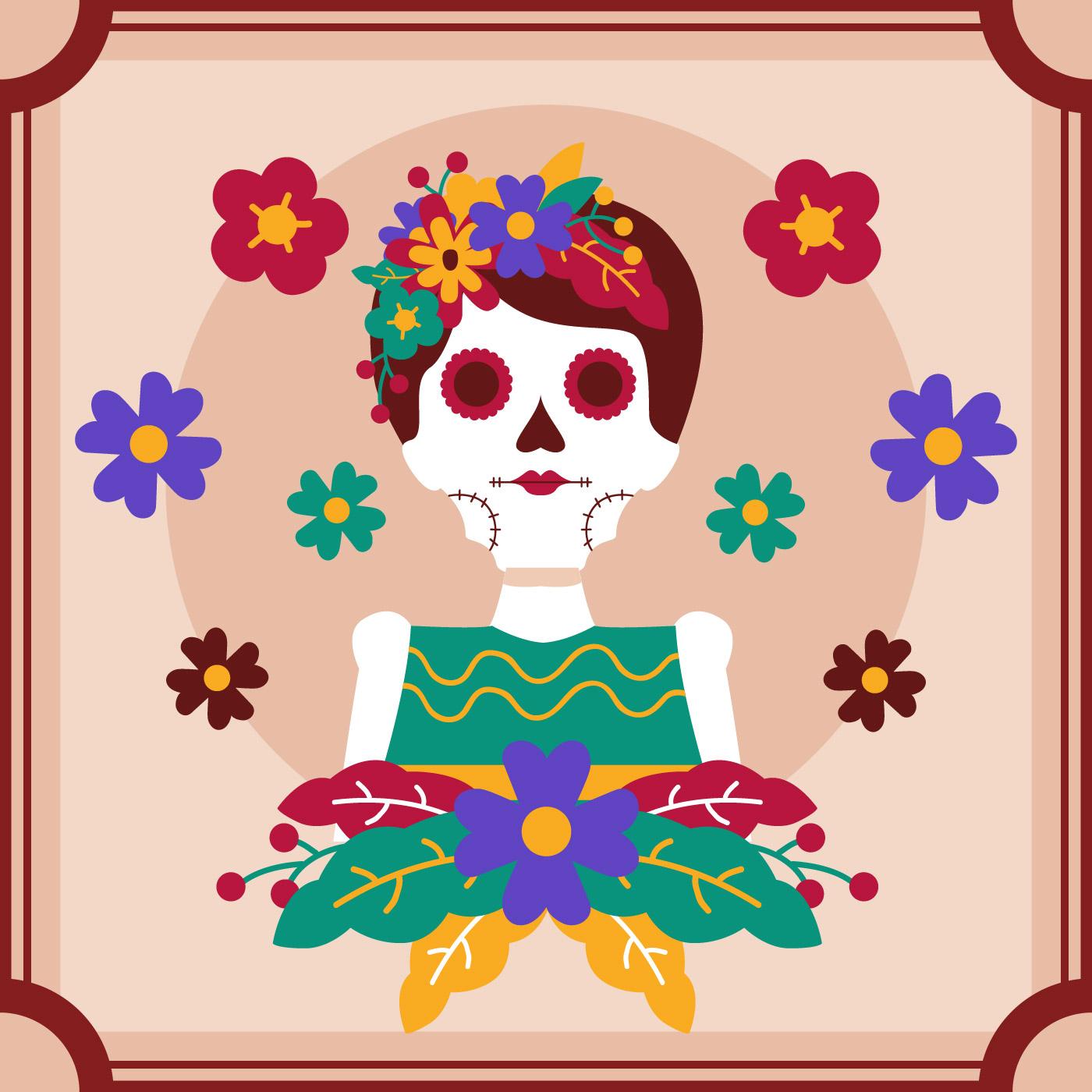 Frame Skull Women Day of the Dead Vector - Download Free Vector Art ...