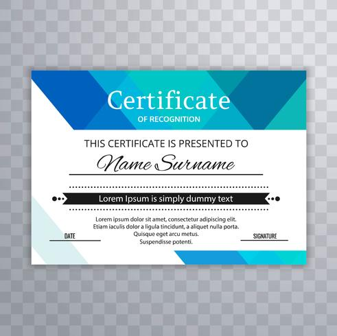 Professional style certificate template design vector