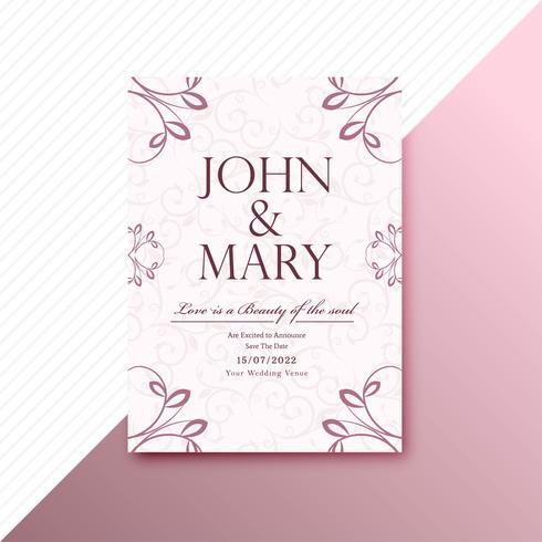 Modèle de carte invitation beau mariage floral décoratif bac