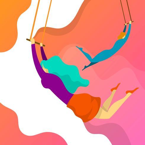 Flat Girl Trapeze Artist Performance vector