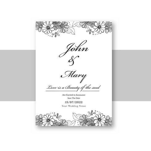 Schöne Hochzeitseinladungs-Kartenschablone mit dekorativer Flora