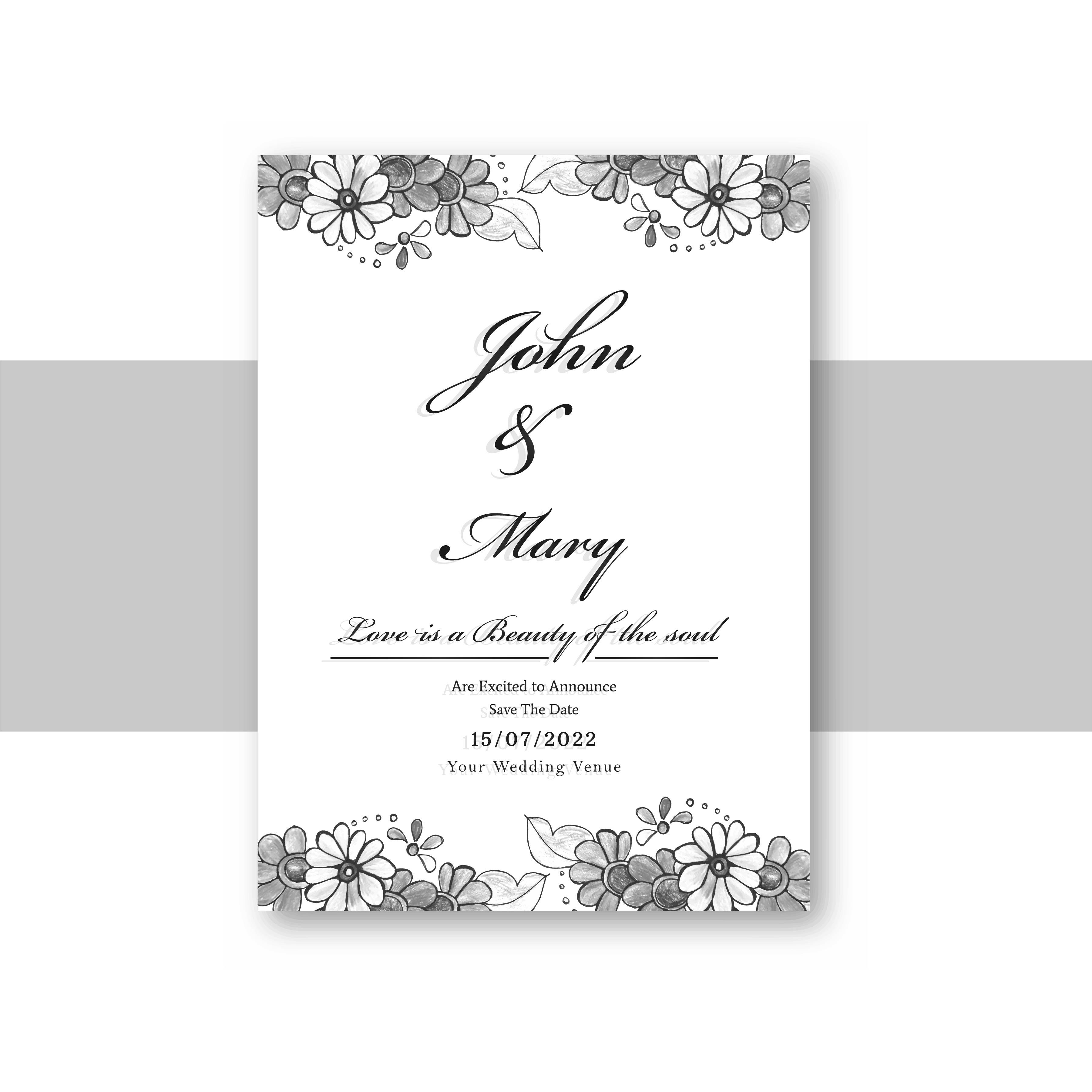 Beautiful wedding invitation card template with decorative flora
