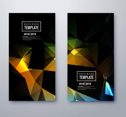 Abstracte kleurrijke veelhoek zakelijke sjabloon set
