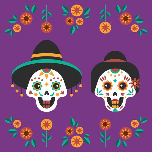 Day of The Dead Couple Skull Background