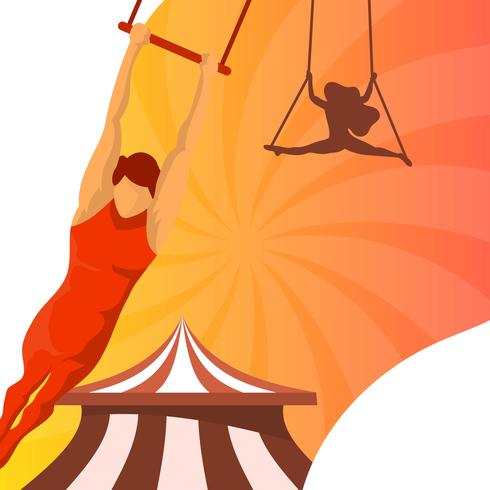 Flat Man Trapeze Artist On Perform Vector Illustration