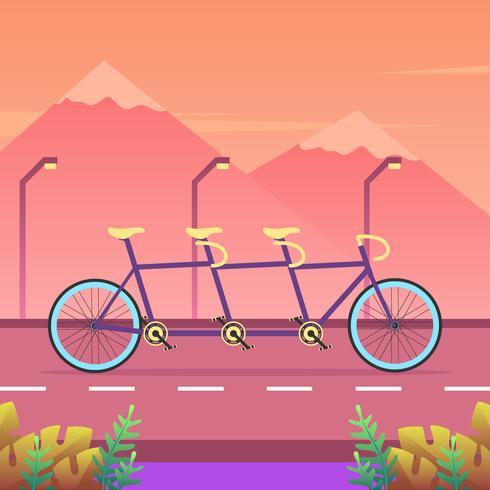 Tandem cykel på vägvektorn