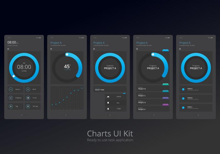 Charts UI Kit Mobile Element Set