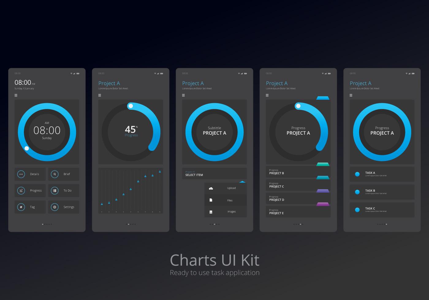 Charts Ui Kit Mobile Element Set