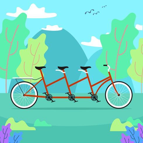 Vélo tandem dans la nature vecteur