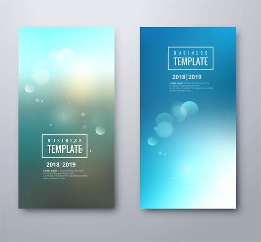 Modern blue blurred business template set design