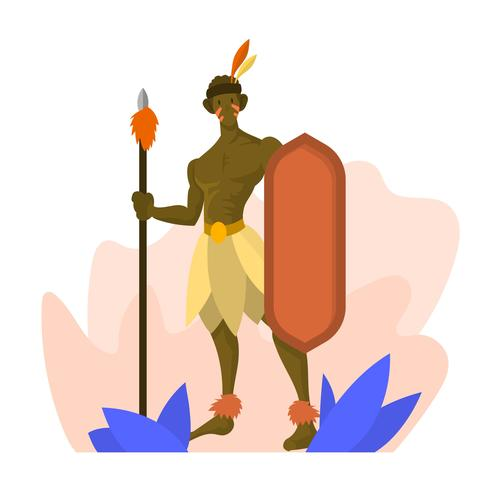 Flat Indigenous People Ancient Tribe Vector Illustration