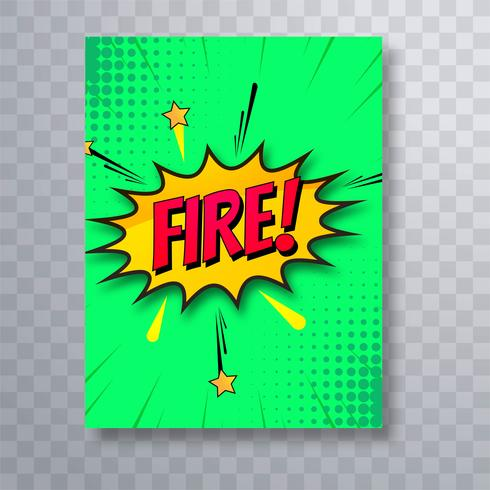 Fire colorful comic pop art brochure template design vector