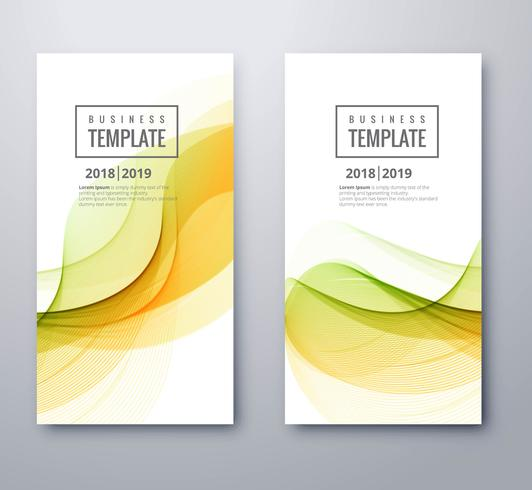 Abstract business wave colorful banners set design
