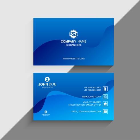 Modelo de cartão com fundo azul da onda