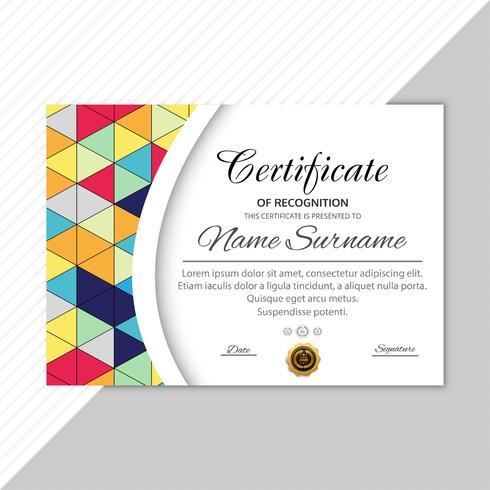 Backgroun geométrico colorido moderno de la plantilla del diploma del certificado vector