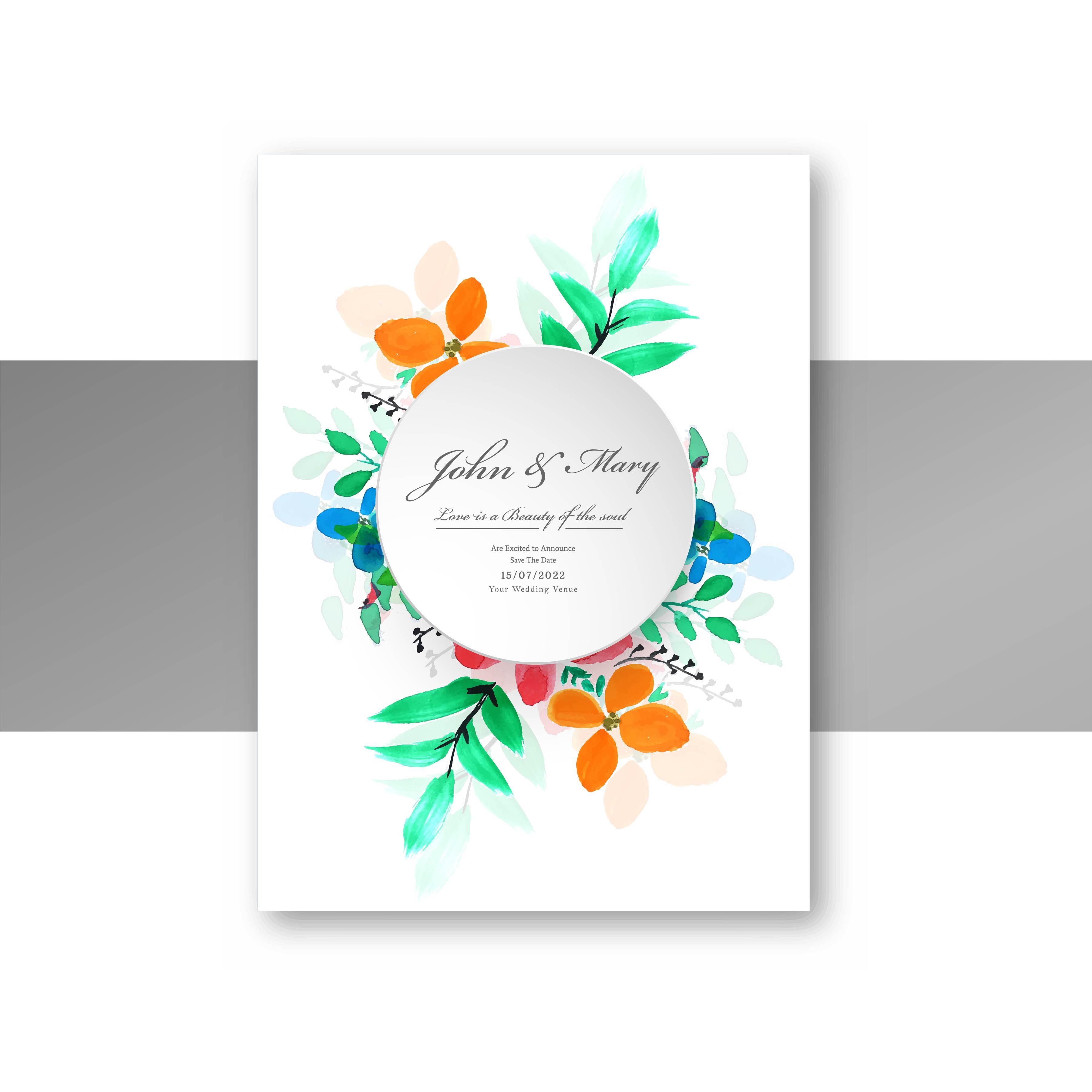 beautiful stylish wedding invitation card colorful floral