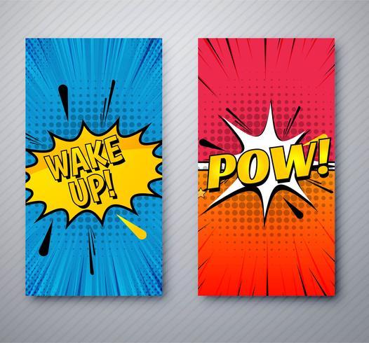 Banners em quadrinhos modernos definir modelo de design