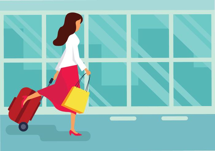 Frau mit Koffer-Vektor-Illustration