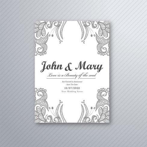 Vetor de modelo de cartão de casamento decorativo