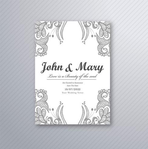 Decorative wedding card template vector